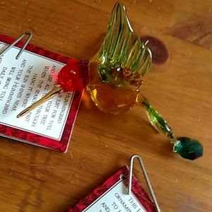 "None Holiday - 3 Handblown Glass Hummingbird Ornaments 3"" New!"